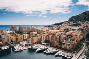 Monaco Grand Prix view with yachts