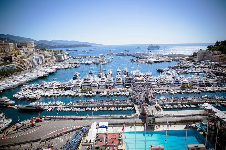 Monaco Grand Prix Swimming Pool and Harbor View