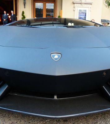 Close up of black Lamborghini
